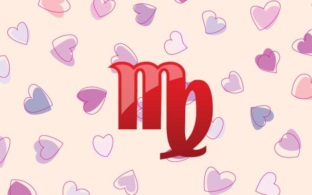 знак девы на фоне сердечек